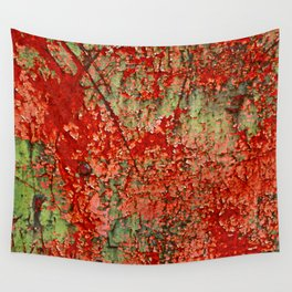 Abstract Red Rust on Green Paint Wall Tapestry