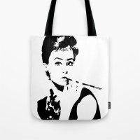 hepburn Tote Bags featuring Hepburn by annelise h
