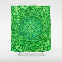 mandala of greenery Shower Curtain