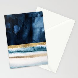 Navy Blue, Gold And White Abstract Watercolor Art Stationery Cards