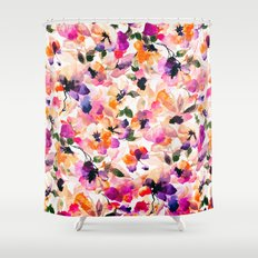 Chic Floral Pattern Pink Orange Pastel Watercolor Shower Curtain