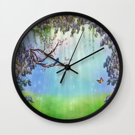 Purple Wisteria Springtime Wall Clock