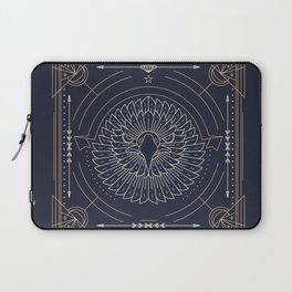 Eagle Head Front Gold White on Black Background Laptop Sleeve