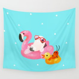 Cory cats in the swimming pool 2 Wall Tapestry