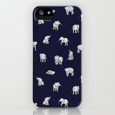Indian Baby Elephants in Navy iPhone (5, 5s) Slim Case