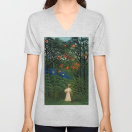 'Woman walking amid Tropical Blue Cornflowers in an exotic forest' by Henry Rousseau Unisex V-Neck