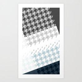 Modern Houndstooth Reinterpreted A – Navy / Gray / White Checked Pattern Art Print