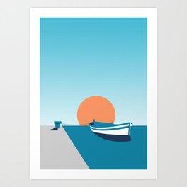 Rowboat sunset Art Print