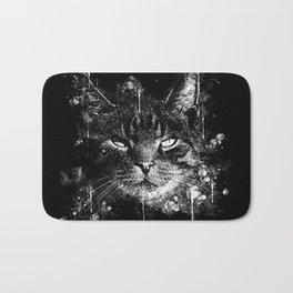 cat eyes splatter watercolor black white Bath Mat
