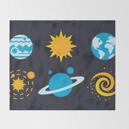 Minimalist Solar System Badges Throw Blanket