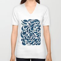 whales V-neck T-shirts featuring Whales by Amanda Lima