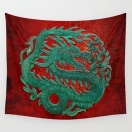 Wooden Jade Dragon Carving on Red Background Wall Tapestry