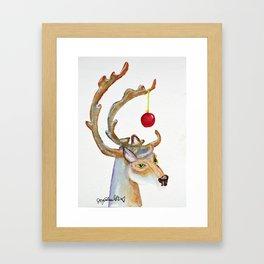 Frosty Goofy Reindeer Framed Art Print