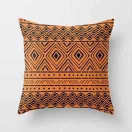 African Mud Cloth // Orange Deko-Kissen