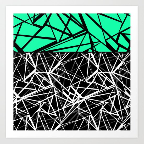 Black and white abstract geometric pattern with green insert . Art Print