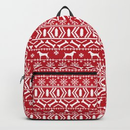 Jack Russell Terrier fair isle christmas sweater dog breed pattern holidays red and white Backpack
