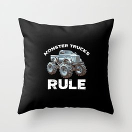 Awesome Monster Trucks Rule Funny Trucks Gift Throw Pillow