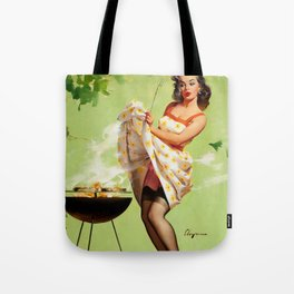 Pin Up Girl and Outdoor Grill Vintage Poster Tote Bag