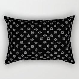 Black and White Floral Flowers Rectangular Pillow