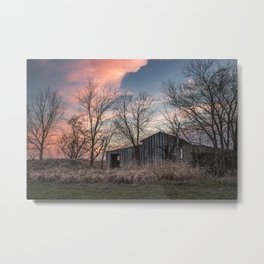 Evening Shade - Old Shed Hidden in Trees at Sunset in Kansas Metal Print