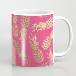 Tropical neon pink faux gold pineapple fruit pattern Coffee Mug
