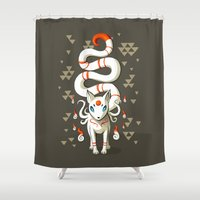 fairy tail Shower Curtains featuring Long Tail Fox by Freeminds