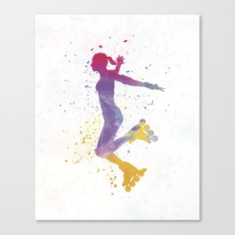 Woman in roller skates 03 in watercolor Canvas Print