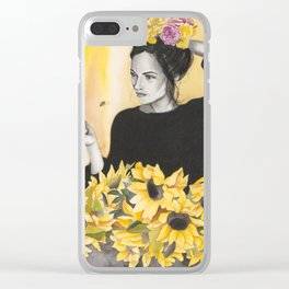 Sunflowers & Honey Bees Clear iPhone Case