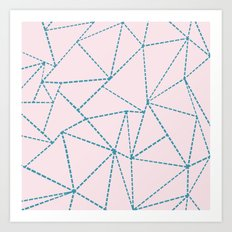 Ab Dotted Lines Blue on Pink Art Print