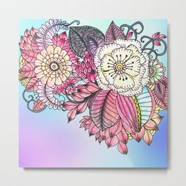 Hand painted pink teal lavender watercolor floral Metal Print