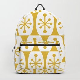 Mid Century Modern Atomic Fusion Pattern Mustard Yellow Backpack