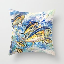Golden Tuna Throw Pillow