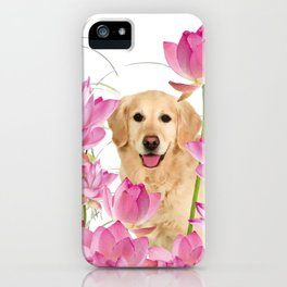 Labrador Retrievers with Lotos Flower iPhone Case