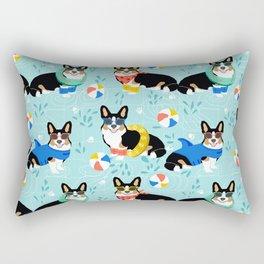 Corgi tri colored corgis pool party dog breed cute custom pet portrait by pet friendly Rectangular Pillow