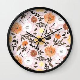 Cute floral Paint Autumn colors Light pink design Wall Clock