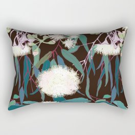 Australian Gumnut Eucalyptus Floral in White + Expresso Rectangular Pillow