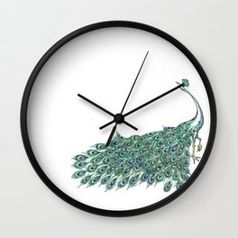 My Peacock Art in Teals and Blues Wall Clock
