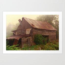 Misty Barn Art Print