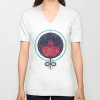 dahlia V-neck T-shirts featuring Fading Dahlia by Hector Mansilla