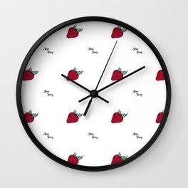 Strawsberry summer text pattern Wall Clock