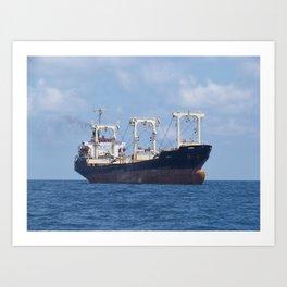 Cargo Ship In The Black Sea Art Print