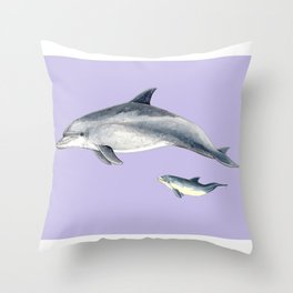 Bottlenose dolphin purple background Throw Pillow