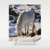 pony Shower Curtains featuring Dartmoor Pony by Jtiffinphotography
