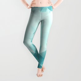 "Low-Poly Geometric Abstract Design ""Key West"" -Aqua, Turquoise Leggings"