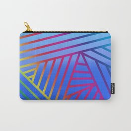 Rainbow Ombre Pattern with Blue Background Carry-All Pouch