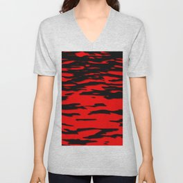 Black red abstract wave Unisex V-Neck