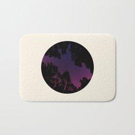Tree Silhouette Against Purple Sky Circle Photo Frame Bath Mat