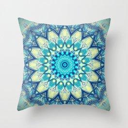 Turquoise Blue Mandala Design Throw Pillow