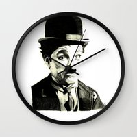 charlie chaplin Wall Clocks featuring Charlie Chaplin by Lauren Randalls ART