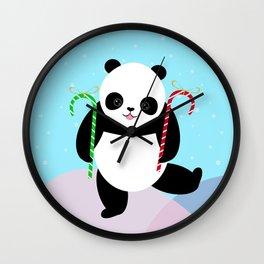 Candy Cane Panda Wall Clock